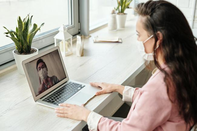 Library image of woman having a video call