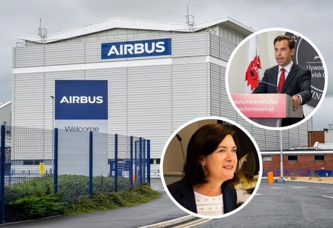 Welsh Government ministers react to news that Airbus Broughton will take the brunt of redundancies in UK [INSETS Ministers Ken Skates and Eluned Morgan]