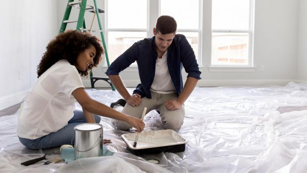 The Leader: Prepping your workspace with a drop cloth or plastic covering is a key part of the process. Credit: Getty Images / SDI Productions