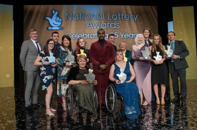 The National Lottery Awards 2019 winners on stage, including Baroness Tanni Grey-Thompson from Wales, the first ever recipient of The National Lottery's Lifetime Achievement Award.