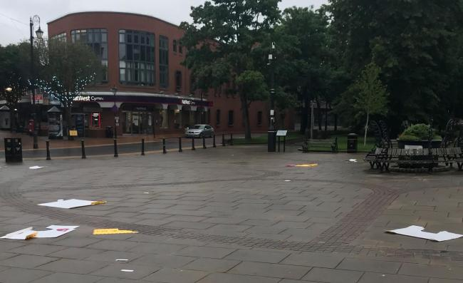 Vandals who destroyed signs in Wrexham town centre