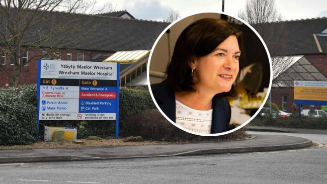 Minister for International Relations and Welsh Language, Eluned Morgan [INSET] addresses concerns about the Wrexham Maelor Hospital