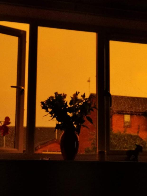 The Leader: A yellow sky over Hawarden on Wednesday evening. (Credit - Beccy Hutchinson)