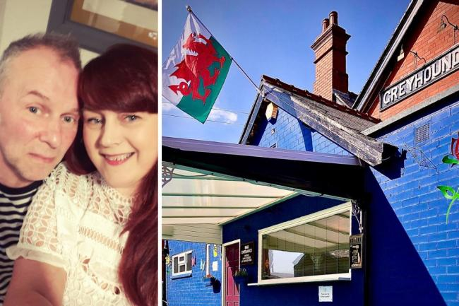 Landlord and lady of The Greyhound Inn, Holt Road, Wrexham, Darren Nixon and Beverley Davies