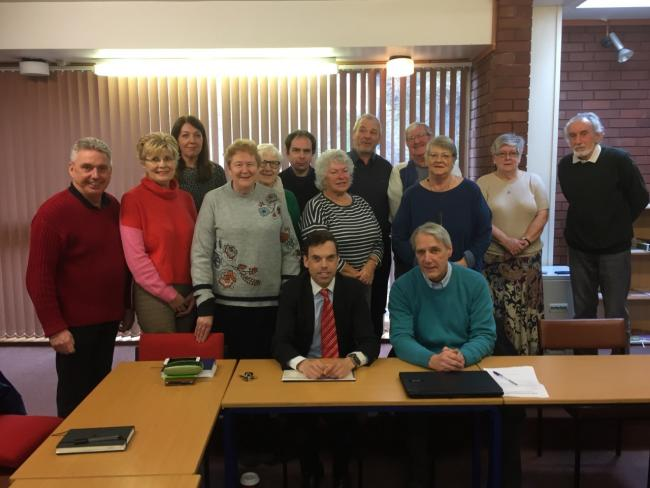 Ken Skates MS and county councillor Derek Wright (far left) with Cefn Community Council pictured in February