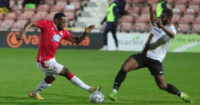 FLYING WINGER: Anthony Jeffrey was the star of the show for Wrexham against Barnet. Picture: ALUN ROBERTS