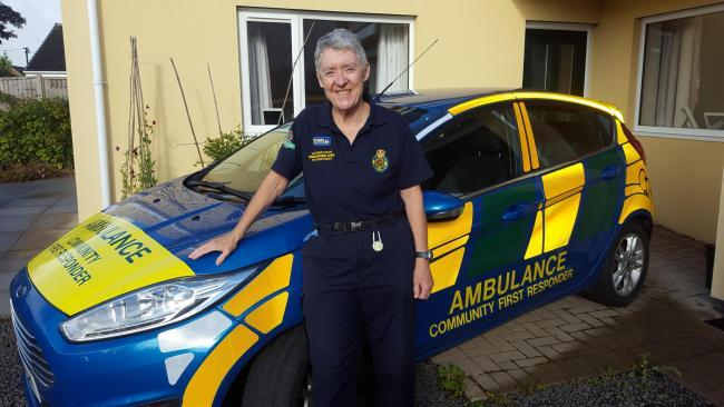 Effie Cadwallader with the car that she used previously. (Source Wrexham Rural Community First Responders)