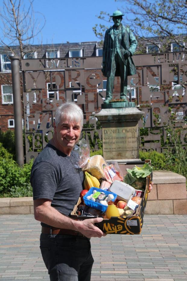 The Leader: Gareth Williams with some of the produce on sale from Mold Community Shop