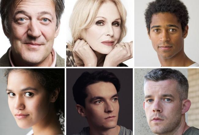 Stephen Fry (Photo: Claire Newman Williams), Joanna Lumley, Alfred Enoch, Emma McDonald, Fionn Whitehead (Photo: Pip) and Russell Tovey (Photo: Jason Dimmock).