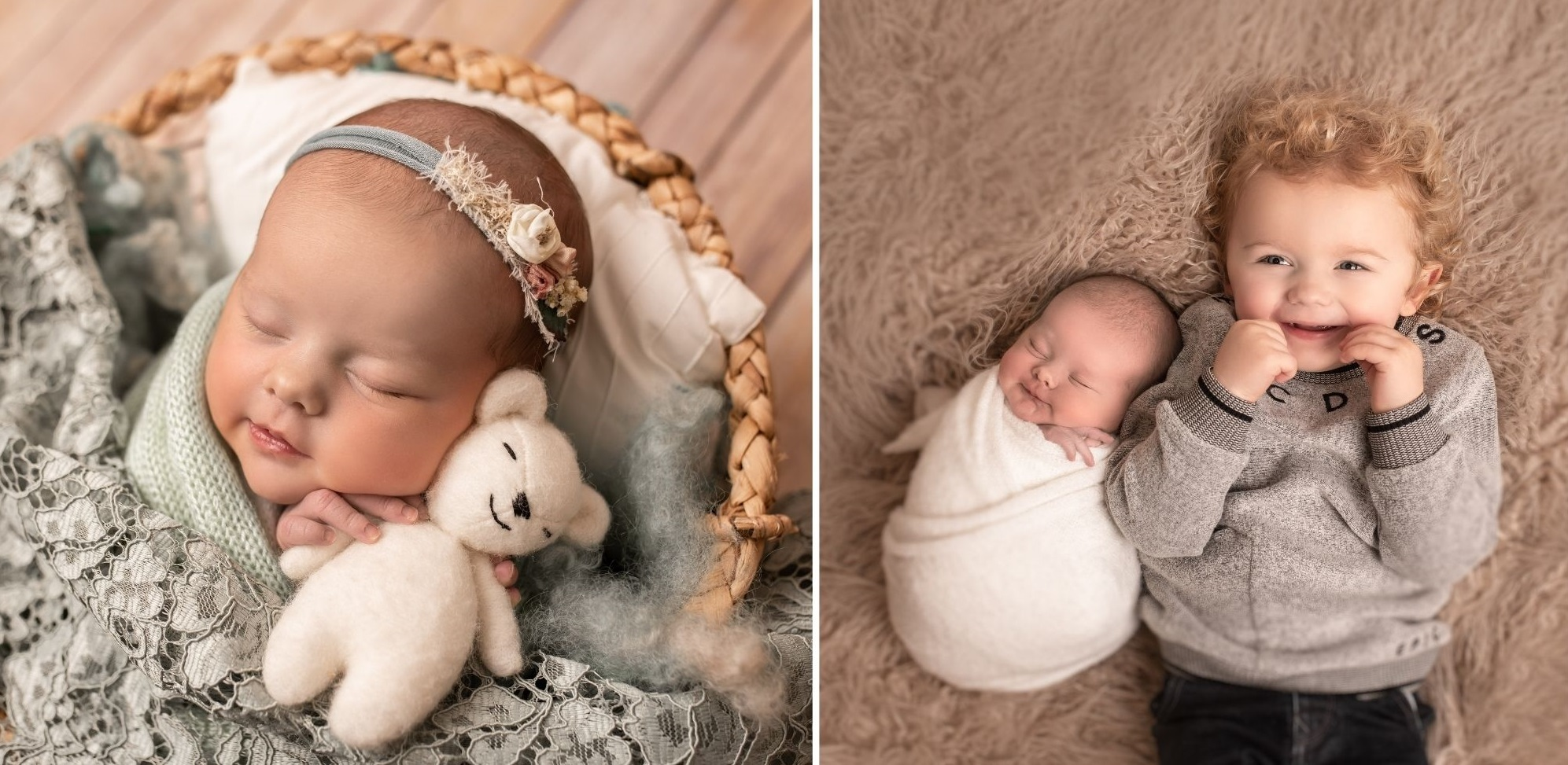 Daisy Isabella Hughes, and with big brother Dexter. Photos: Gabrielle Davies Photography