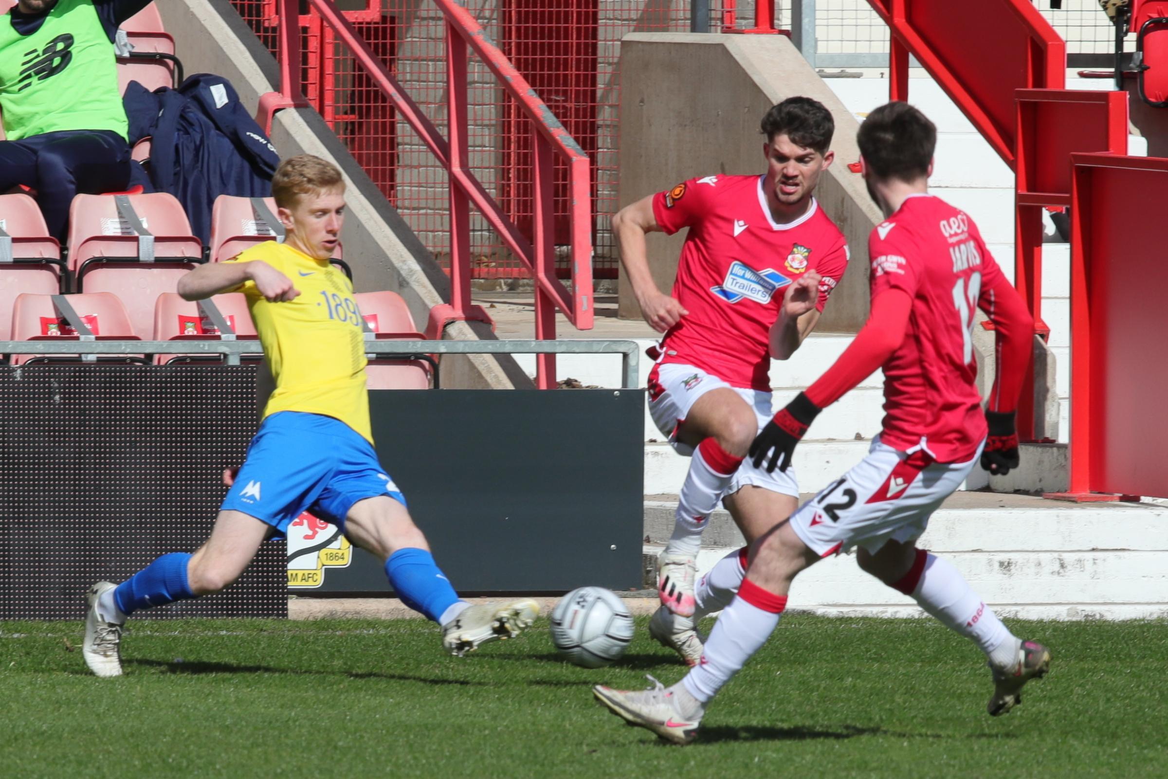 Wrexham AFC hat-trick hero Jordan Davies cannot contain his delight