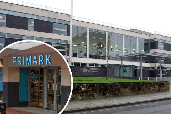 Mold Crown Court and, inset, Primark in Wrexham (image: Google)