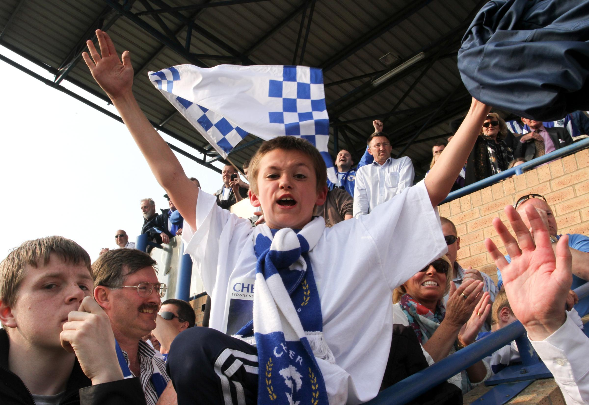 Jubilant scenes of Chester FC in 2011, having clinched the Evo-Stik Division One North title - just - on the final day of the season. Pictures: RICK MATTHEWS.