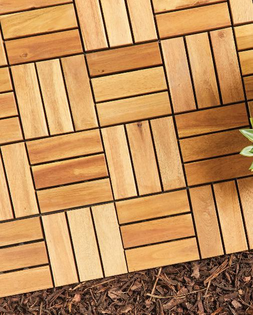 The Leader: Two Direction Wooden Decking Tiles. (Aldi)