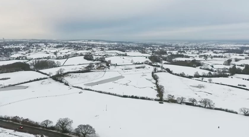 Aerial shot of a snowy Holt. Picture: YouTube / Drone Recon