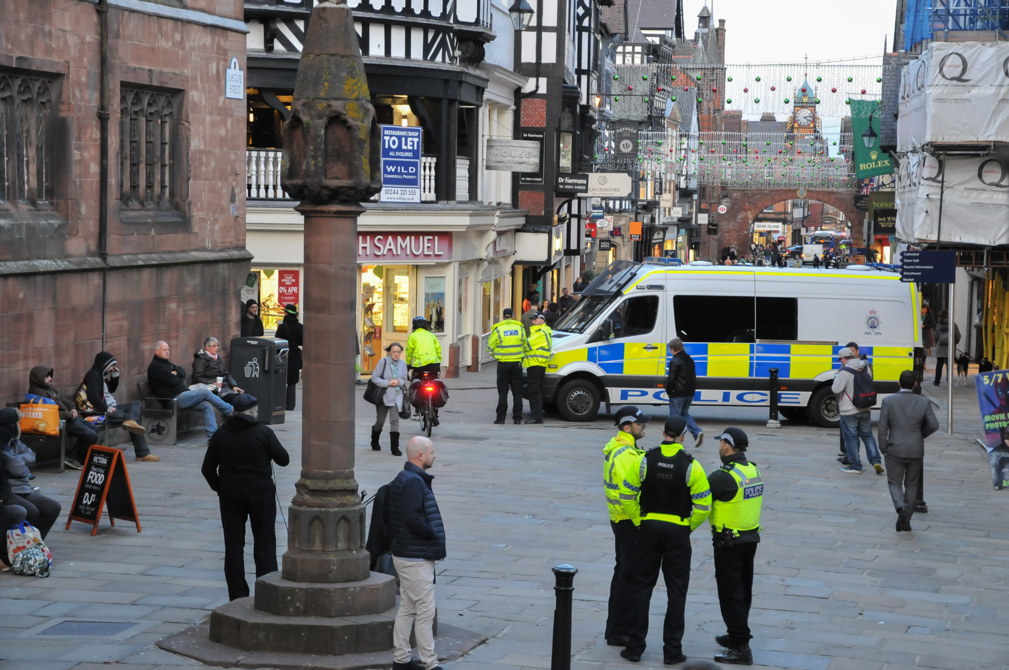Cheshire Police officers on patrol on Eastgate Street, Chester, in the build-up to last November's derby match.