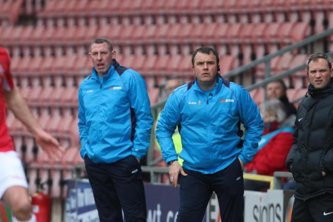 NEW ERA: Reds boss Andy Davies on the touchline with Stephen Wright. Picture by Craig Colville