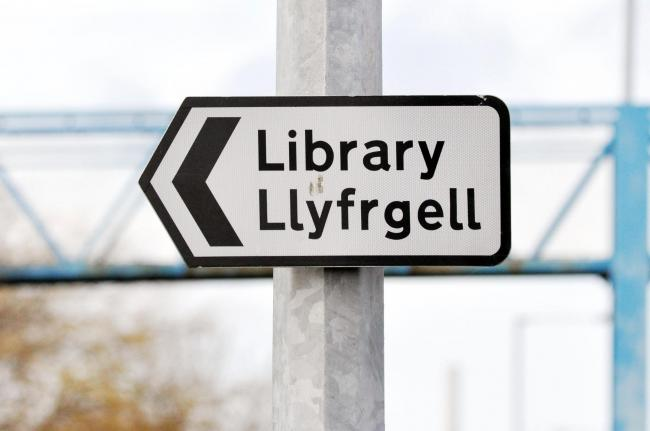 Library sign in Deeside