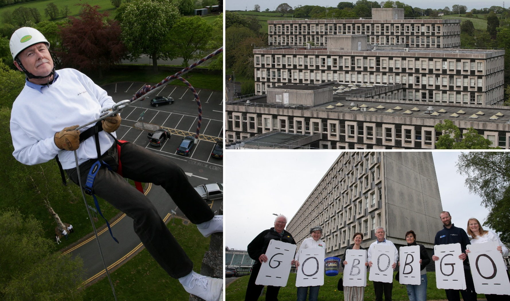 The Mayor of Mold Bob Gaffey abseiling down the side of the County Hall to raise money for his Mayor's charity