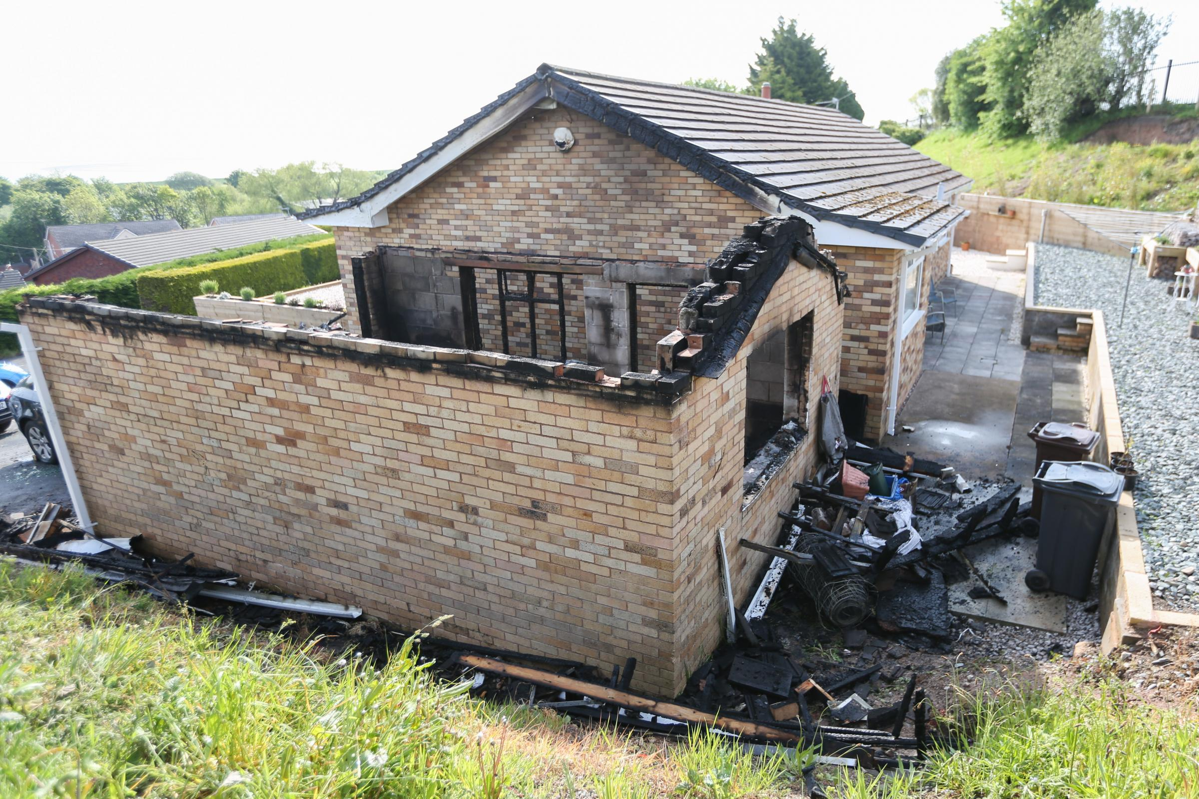 A car was damaged and a garage destroyed at a house in Foel Gron, Bagillt. GA170518A
