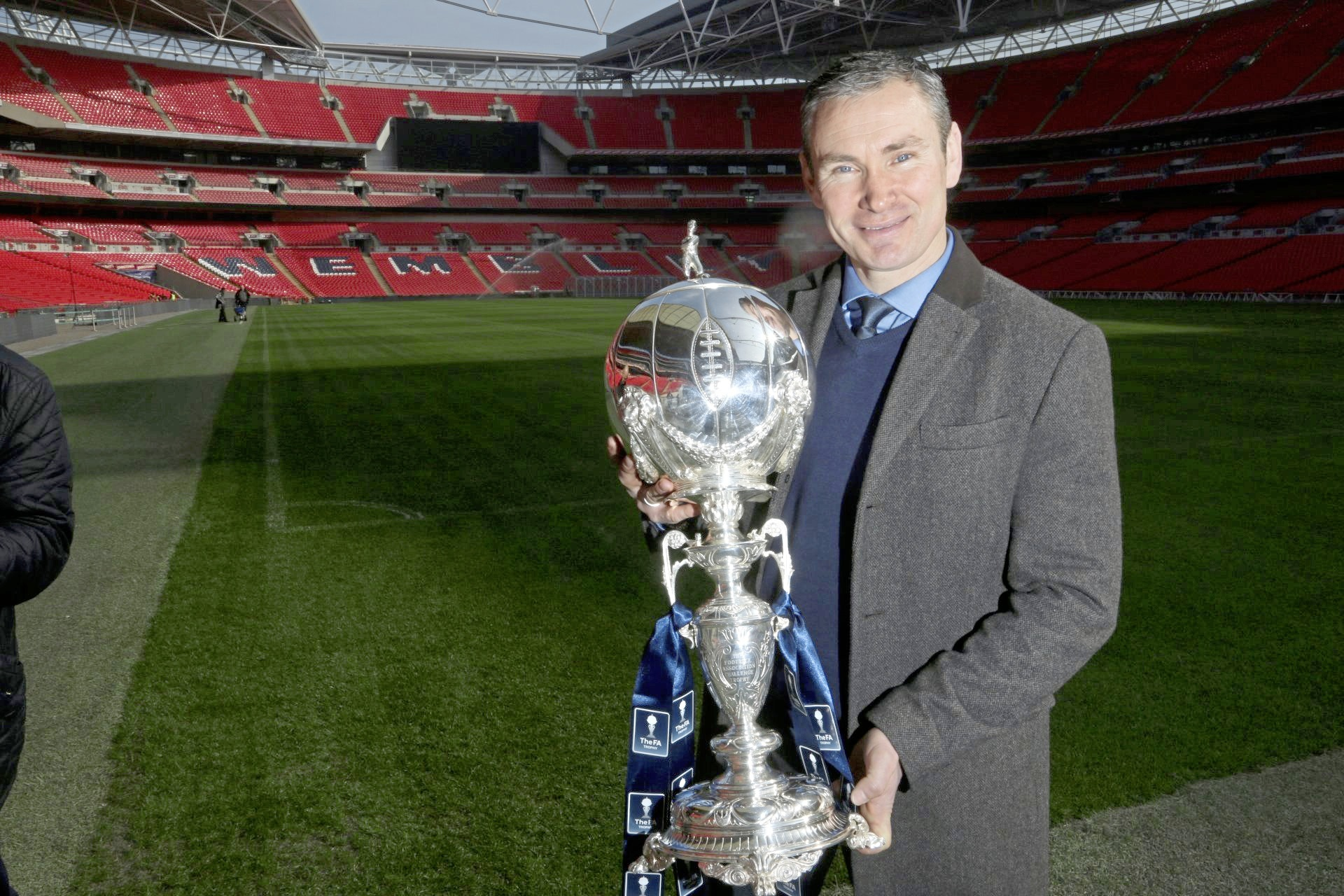 CC180315AWrexham pre FA Trophy Wembley Trip Kevin Wilkin Manager with the Trophy