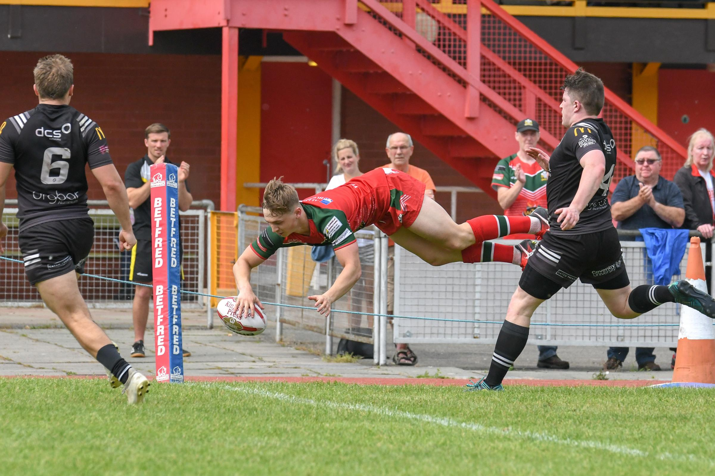 Action from North Wales Crusaders v Coventry Bears