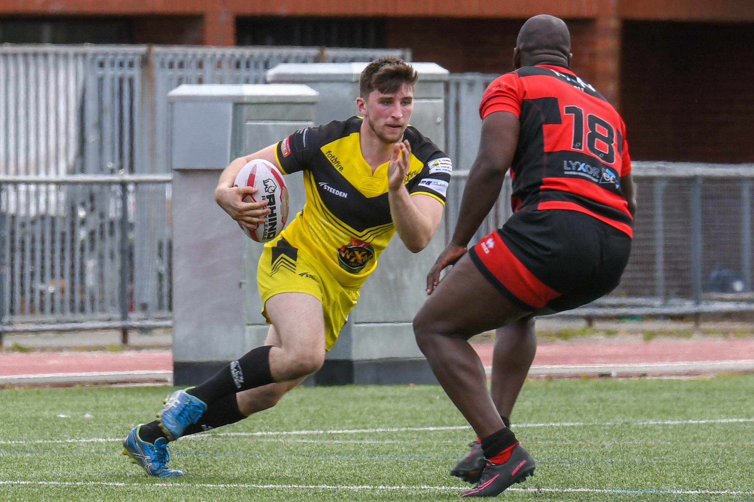 Crusaders winger Jake Knox powers on the attack against London Skolars. Photo: Richard Long.