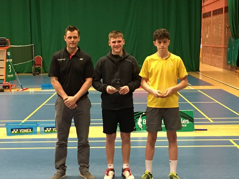 Tom Sudder (centre) with national coach Tom Sudder (left) and Dafydd Price (right).