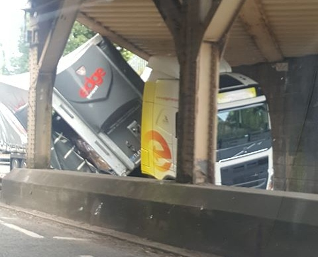 The lorry under the bridge in Ruabon. Picture from Kim Saffy