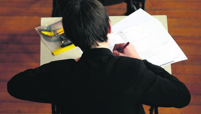 File photo of a pupil sitting an exam.