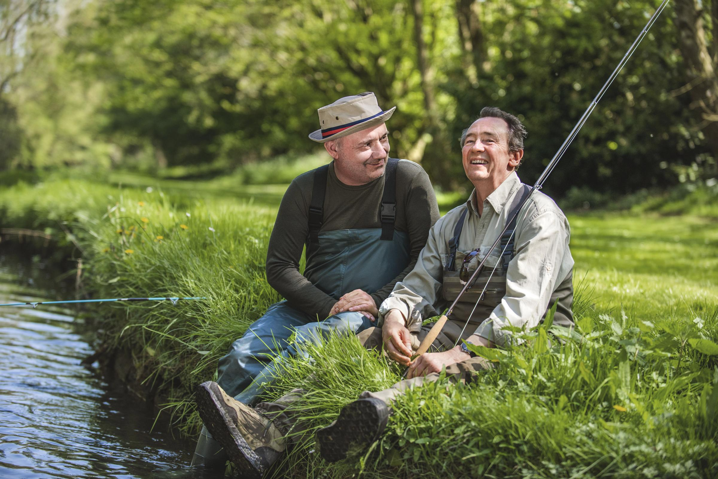 WARNING: Embargoed for publication until 00:00:01 on 12/06/2018 - Programme Name: Mortimer & Whitehouse: Gone Fishing  - TX: n/a - Episode: n/a (No. n/a) - Picture Shows:  Bob Mortimer, Paul Whitehouse - (C) Owl Power - Photographer: Parisa Taghizadeh