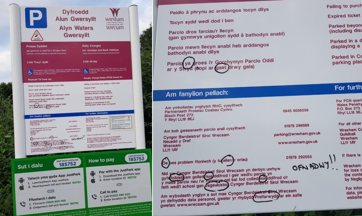Ofnadwy New 7k Parking Signs In Wrexham To Be Replaced After Welsh