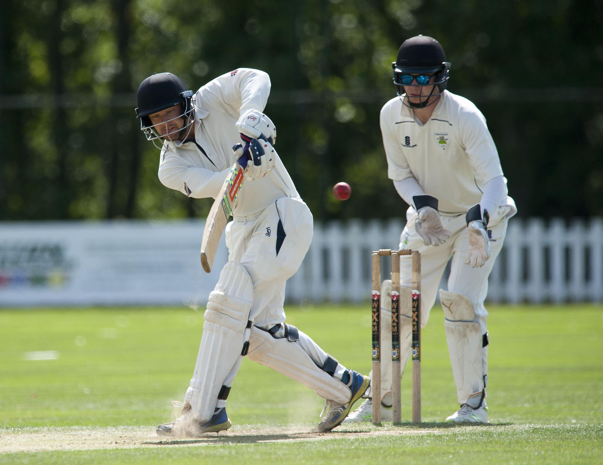 Copyright Pic by Andrew Price/View Finder Pictures-Chester 07774611778.Picture taken 180818.  Caption: Brymbo V Hawarden , Brymbo batting..Brymbos Ken Bowman smashes one..