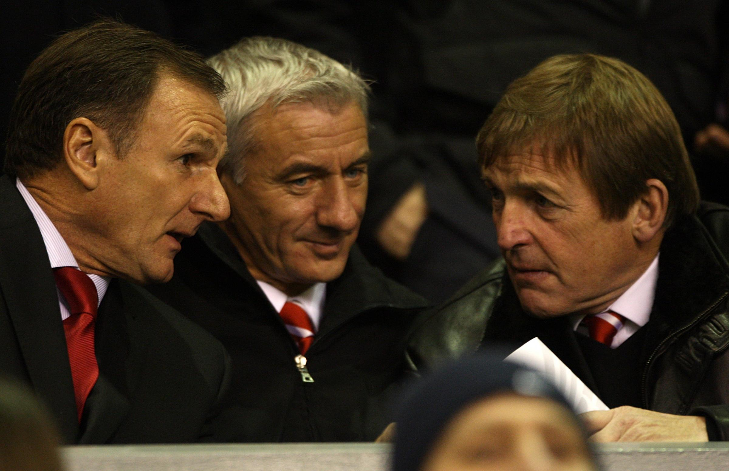 (L-R) Former Liverpool footballers Phil Thompson and Ian Rush with Liverpool's academy manager Kenny Dalglish in the stands