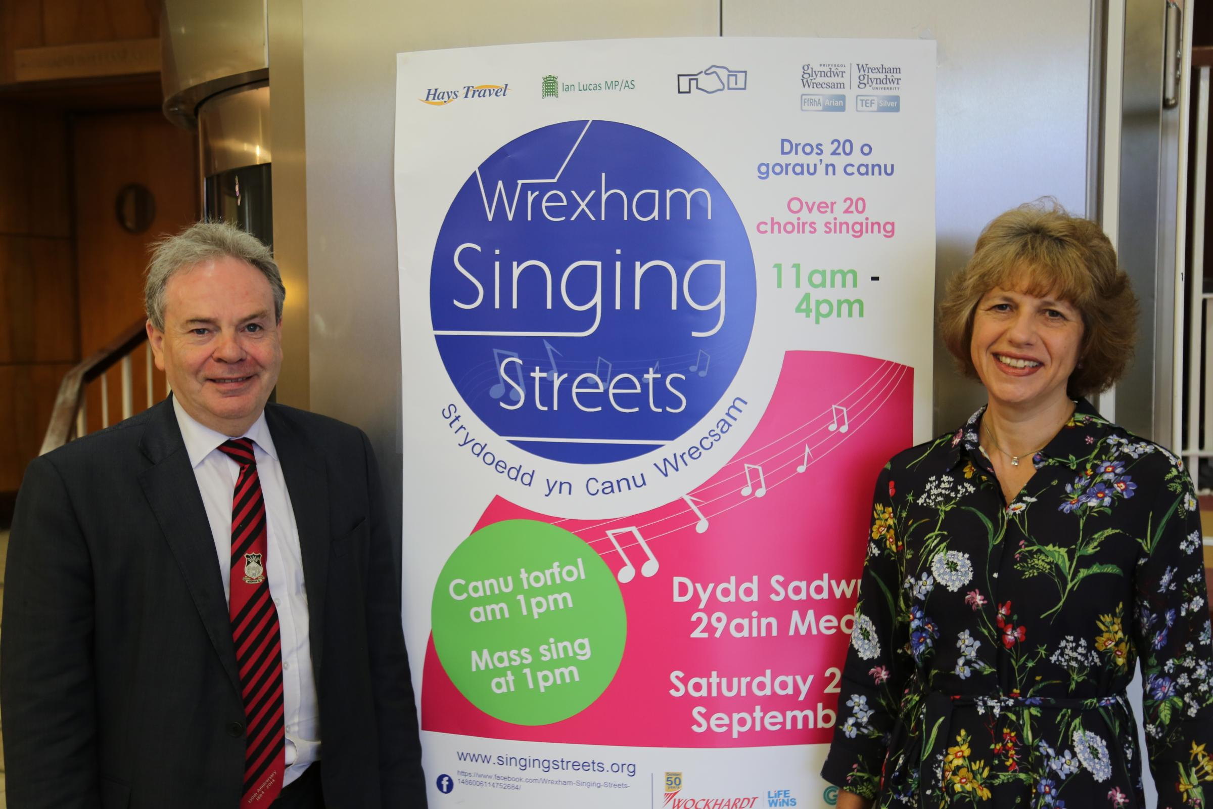Ian Lucas, MP for Wrexham, and Professor Maria Hinfelaar, Wrexham Glynd?r University Vice-Chancellor, are inviting people to support this year's Wrexham Singing Streets festival.