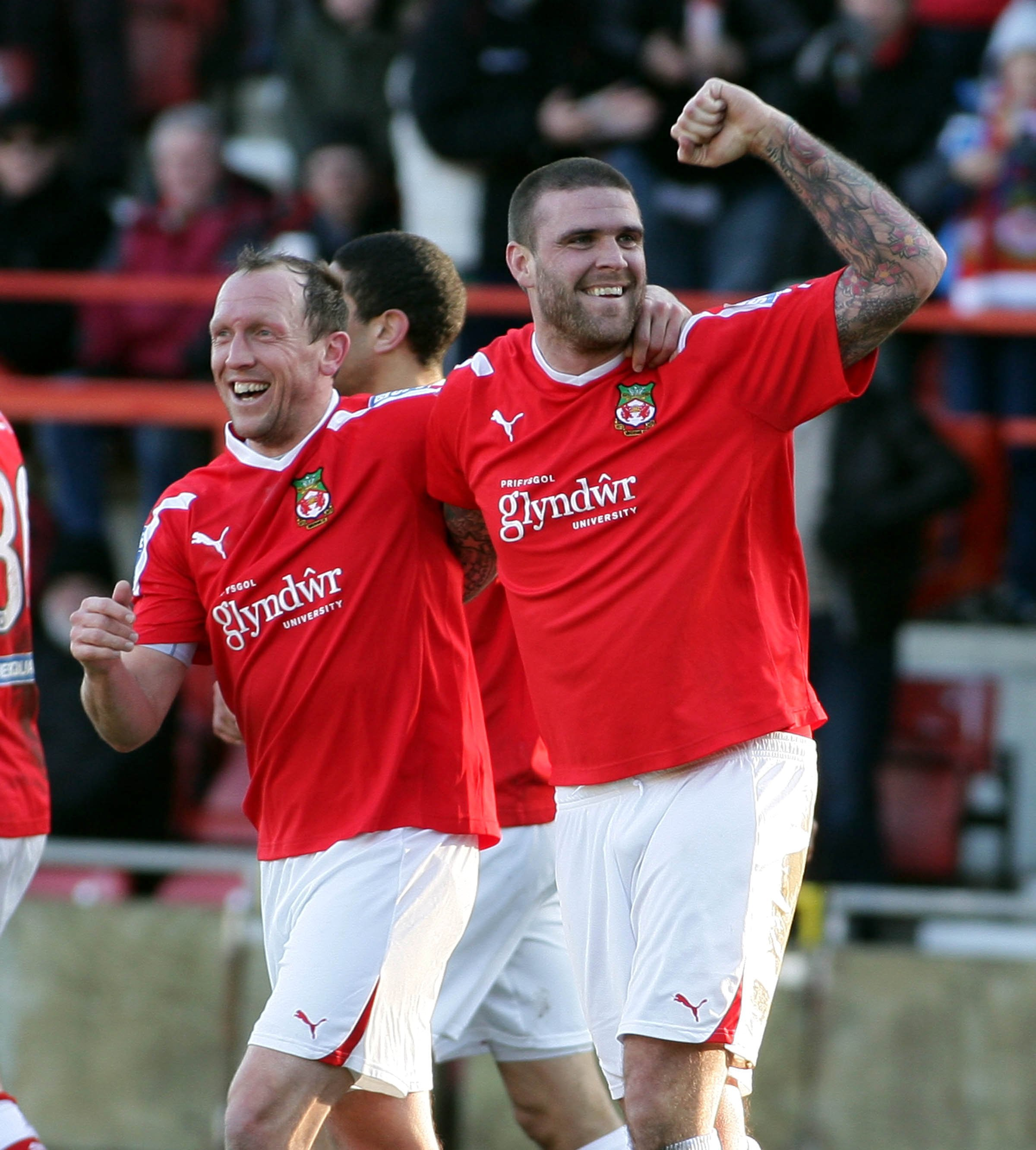 Wrexham v Hayes and Yeading at the Glyndwr Racecourse in the Blues square Conference Andy Morrell celebrates with Mark Creighton scorer