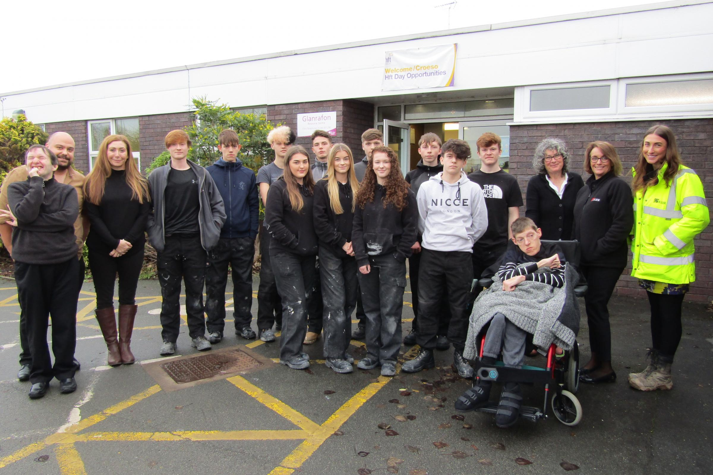 Students spruce up dilapidated Flintshire community centre while £4 million adult  day care facility is being built