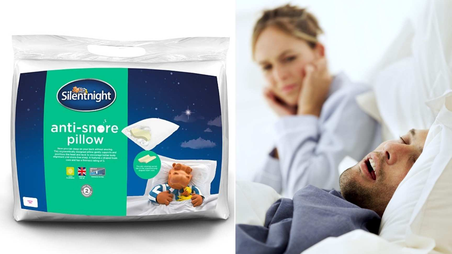The Silentnight anti-snore pillow that is being sold for £12