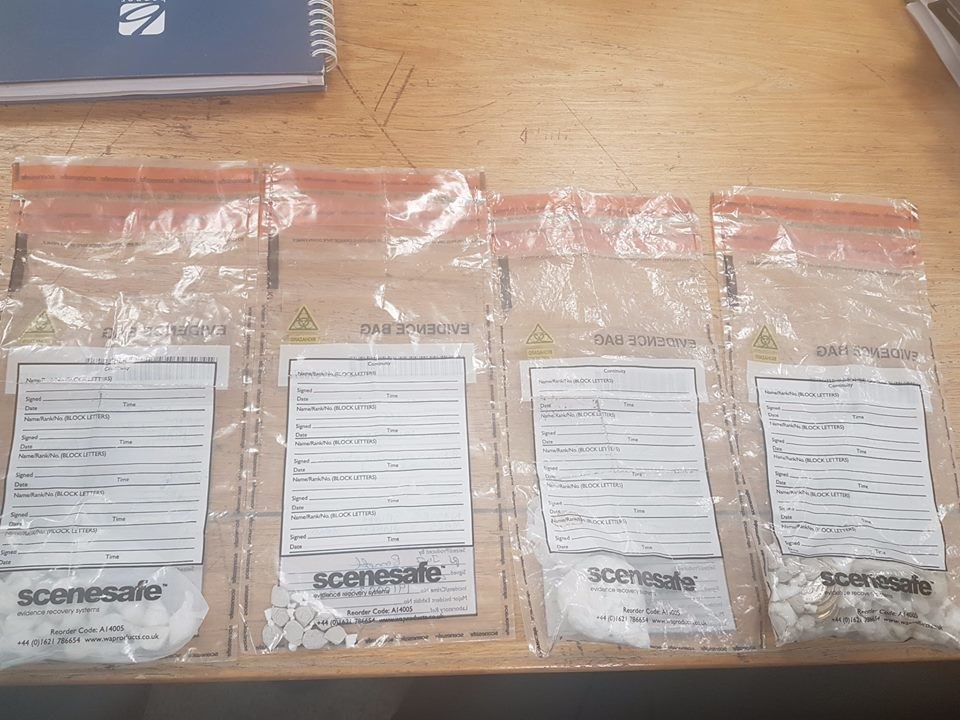 Drugs found by South Flintshire police officers. Image by NWP.
