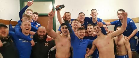 Cefn Albion players celebrate their quarter-final victory over Corwen.
