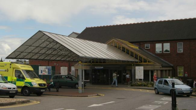 Entrance at Wrexham Maelor Hospital