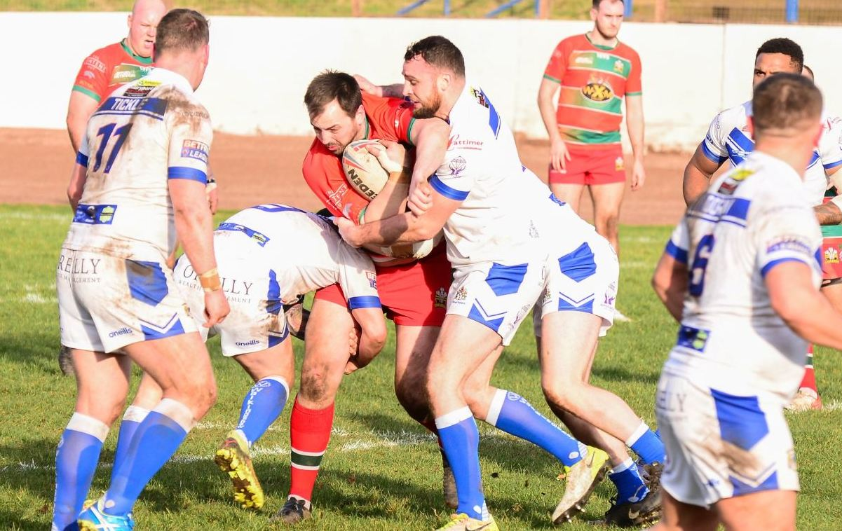 Jonny Walker in action for North Wales Crusaders at Workington. Photo: GARY McKEATING