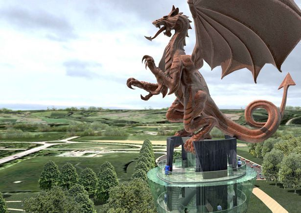 An artist\'s impression of the dragon sculpture which could be created in Chirk. Source: Planning document