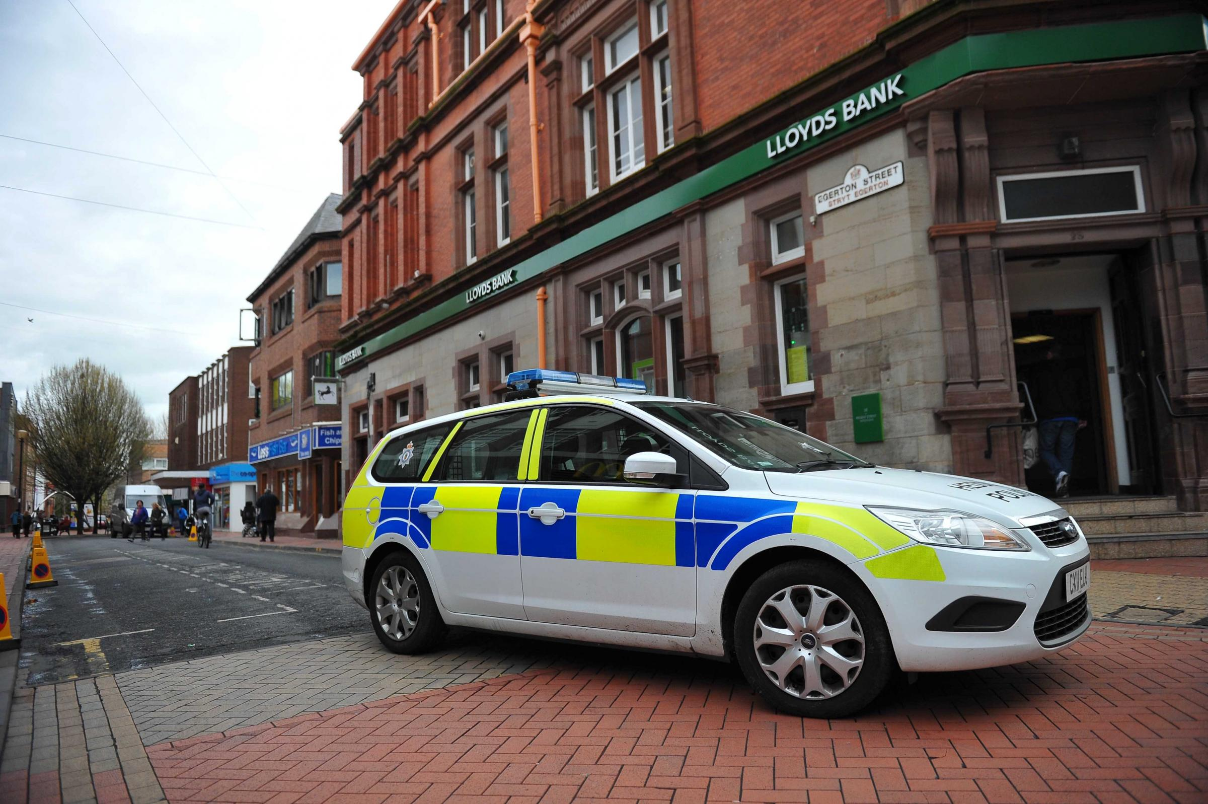Library image of police in Wrexham town centre