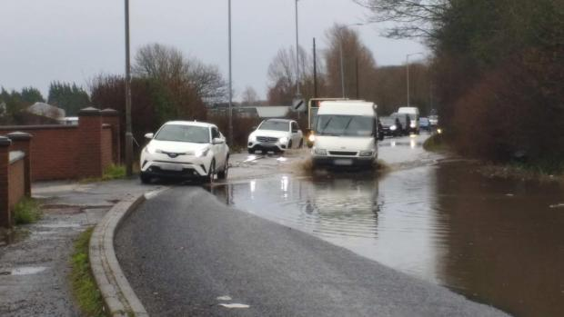 Natural Resources Wales has issued a flood warning for Llangollen