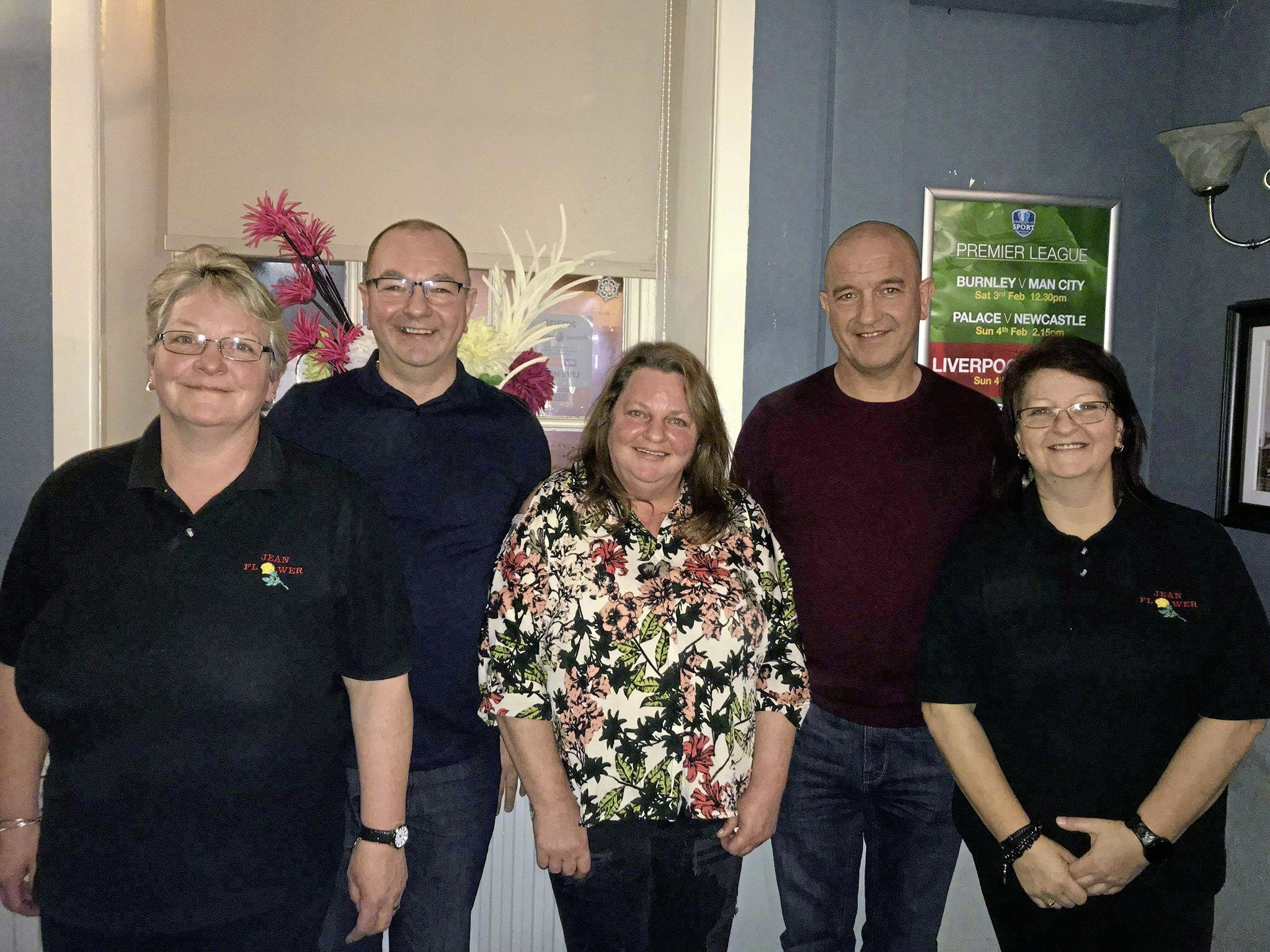 Organisers Harry, Loz, Susan, Gillian, and Amanda at a previous Jean Harrison memory charity darts night.