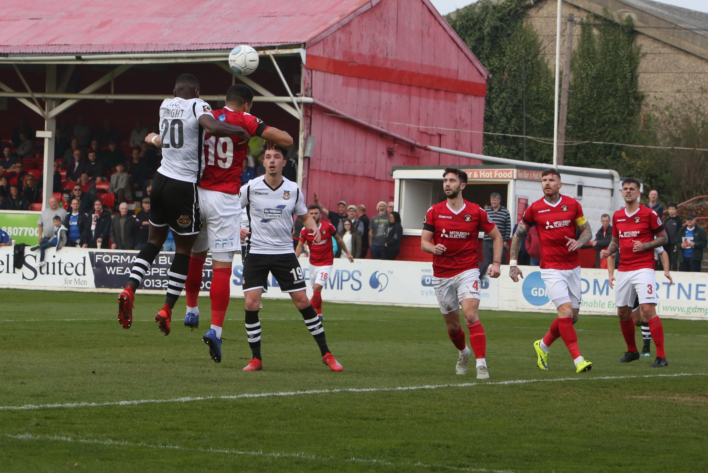 Akil Wright in action against Ebbsfleet