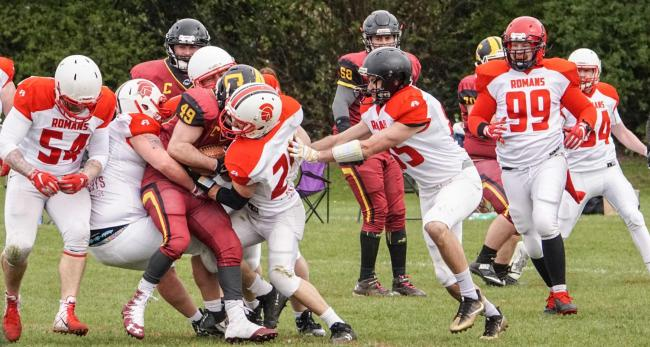 Action from Chester Romans opening day clash against Nottingham Caesars