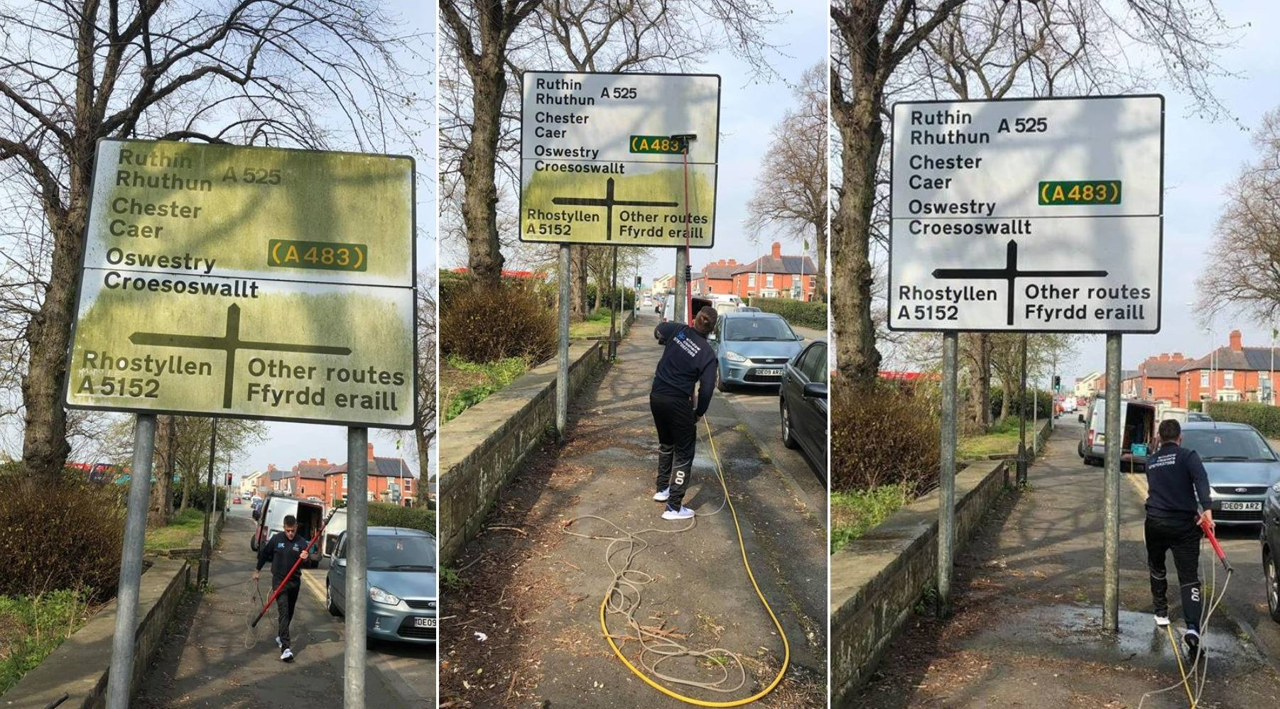 Wrexham cleaning company spruce up dirty road signs in town