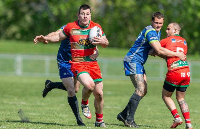 North Wales Crusaders captain Kenny Baker in action against West Wales Raiders. Picture: RICHARD LONG